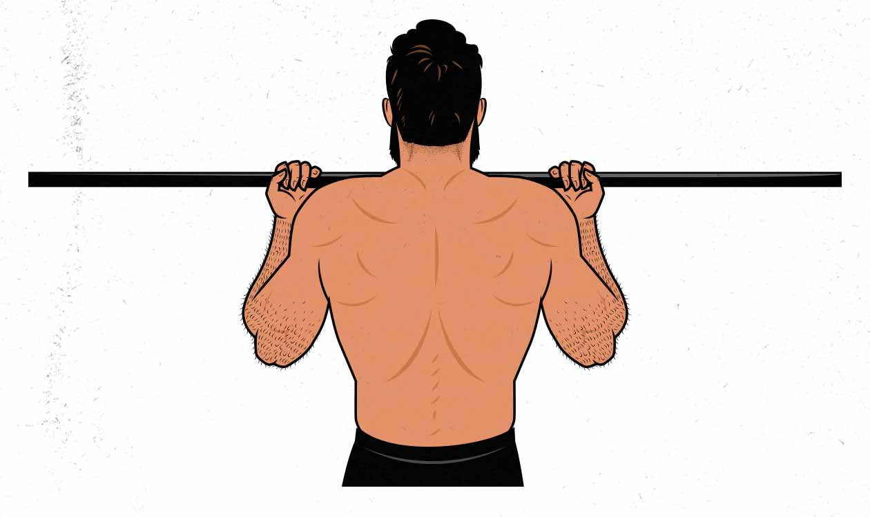 Illustration of a man doing chin-ups