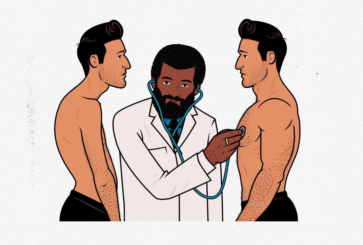Ilustración de un doctor examinando a un hombre delgado y a un hombre musculoso.