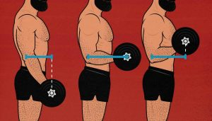 Diagram of moment arms in the barbell curl lifting weights.