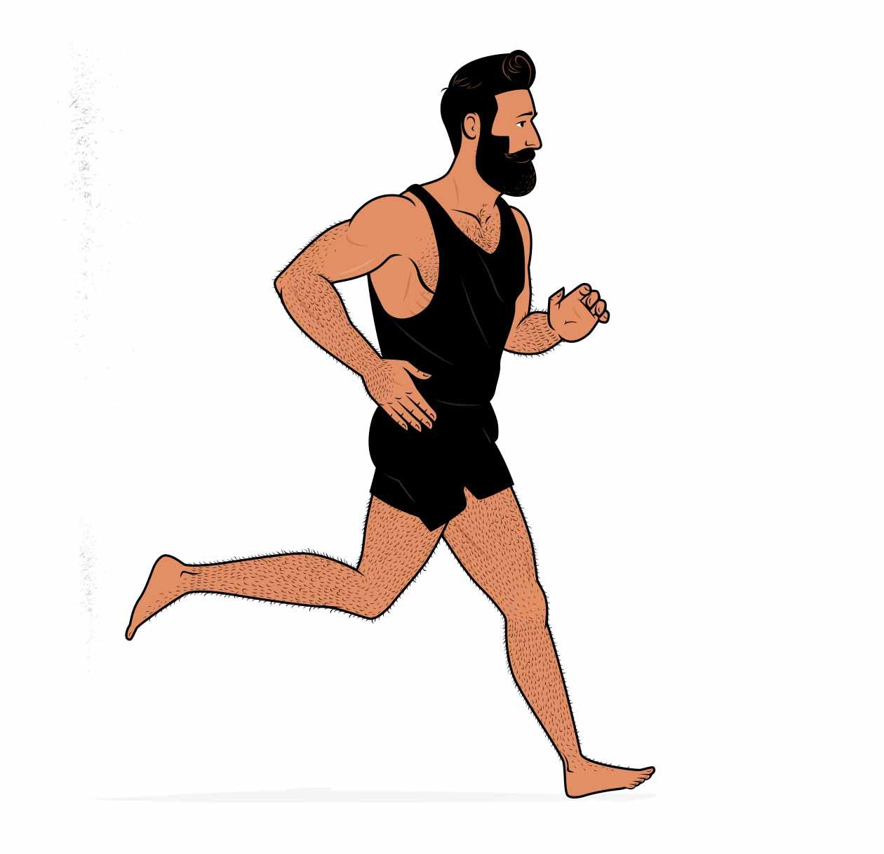 Ilustración de un hombre muscular trotando.