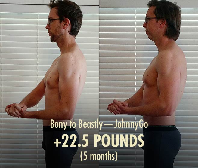 Before and after photo showing the results from doing the Outlift / Bony to Beastly Program