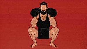 Illustration of a man doing a double-dumbbell front squat.