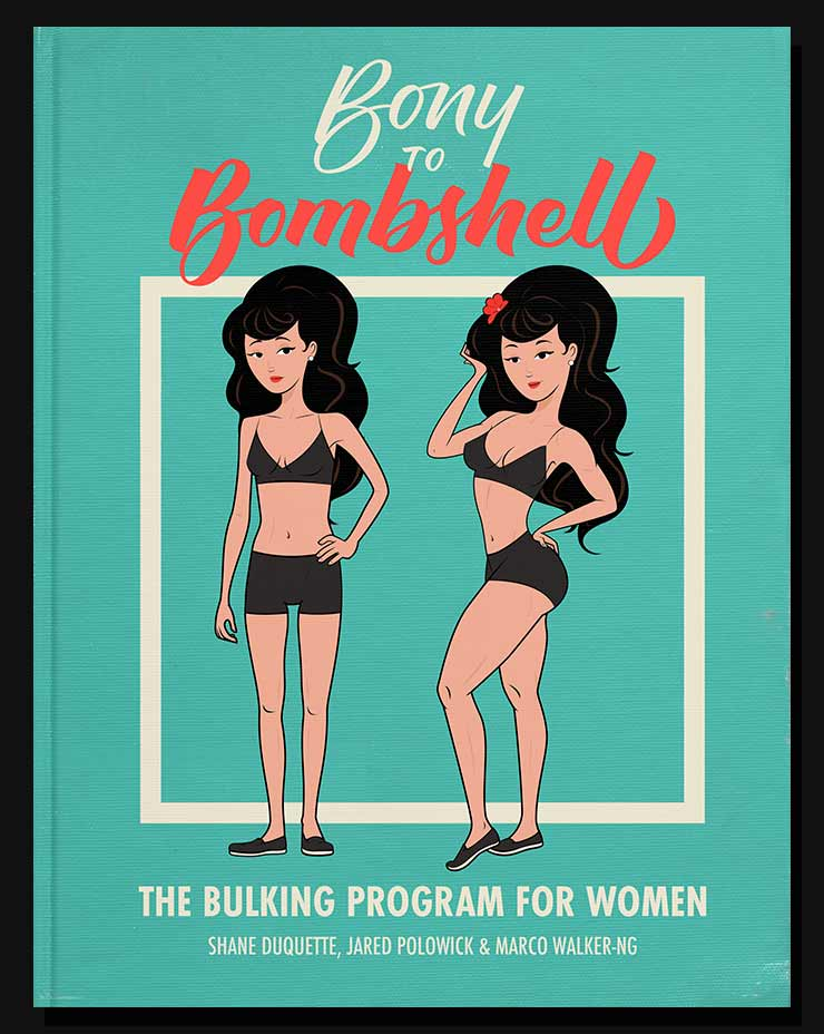 Cover of the Bony to Bombshell bulking program for women.