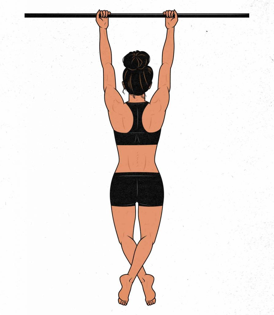 Illustration of a woman doing a full range of motion chin-up.