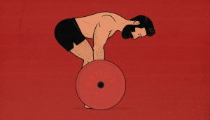 Illustration of a man doing barbell Pendlay rows.