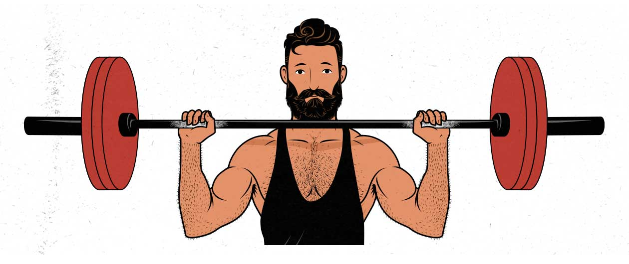 Illustration of a well-rested man lifting weights.