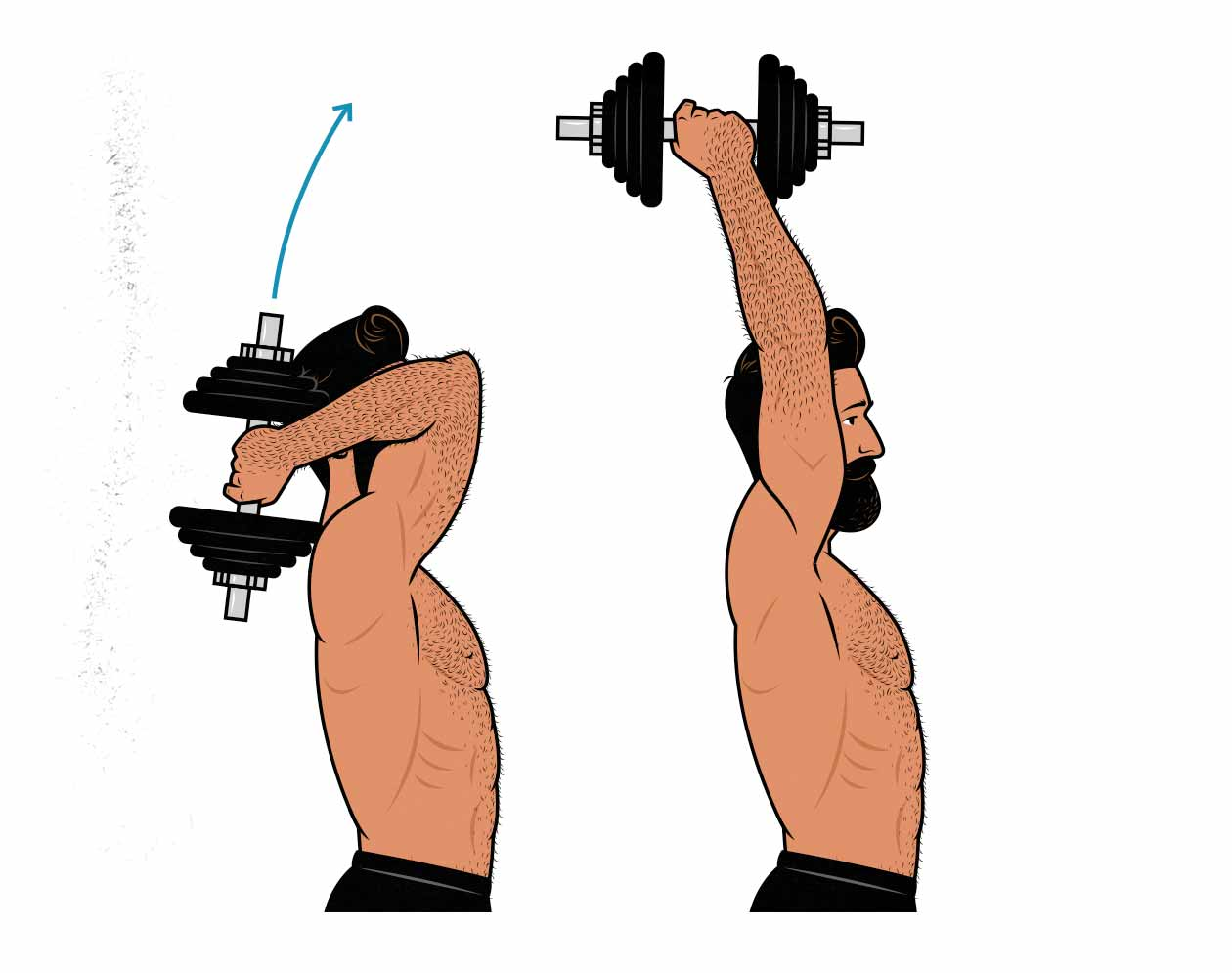 Illustration of man doing the overhead dumbbell triceps extension.