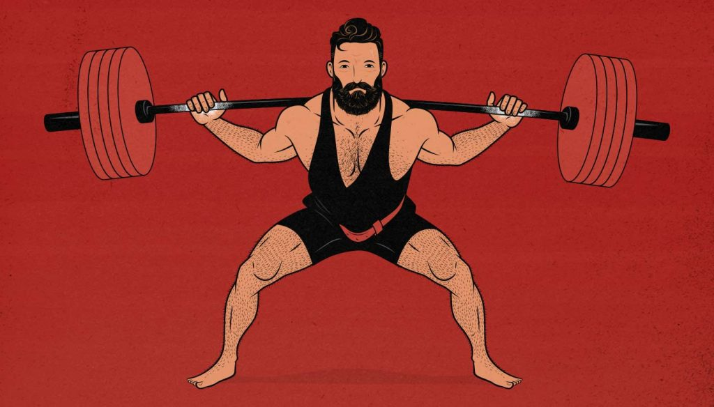 Illustration of a man doing a heavy partial back squat