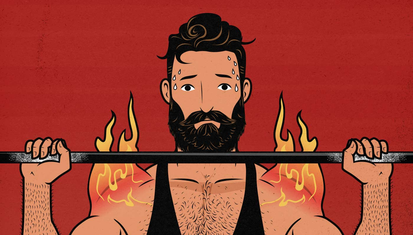 Illustration of a sweating man with flaming shoulders doing the overhead press.