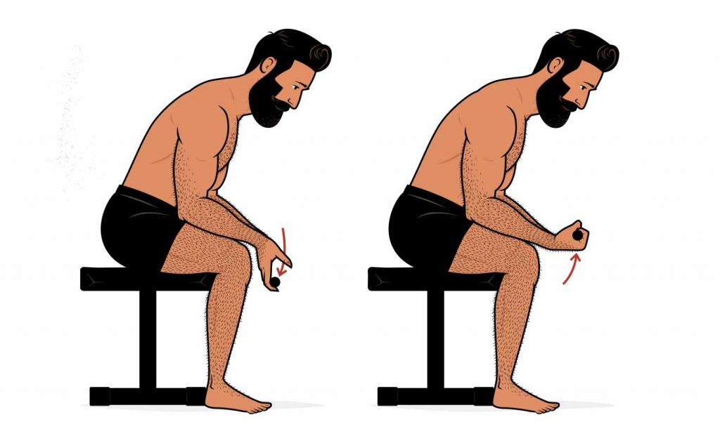 Illustration of a man doing wrist curls to bulk up his forearms.