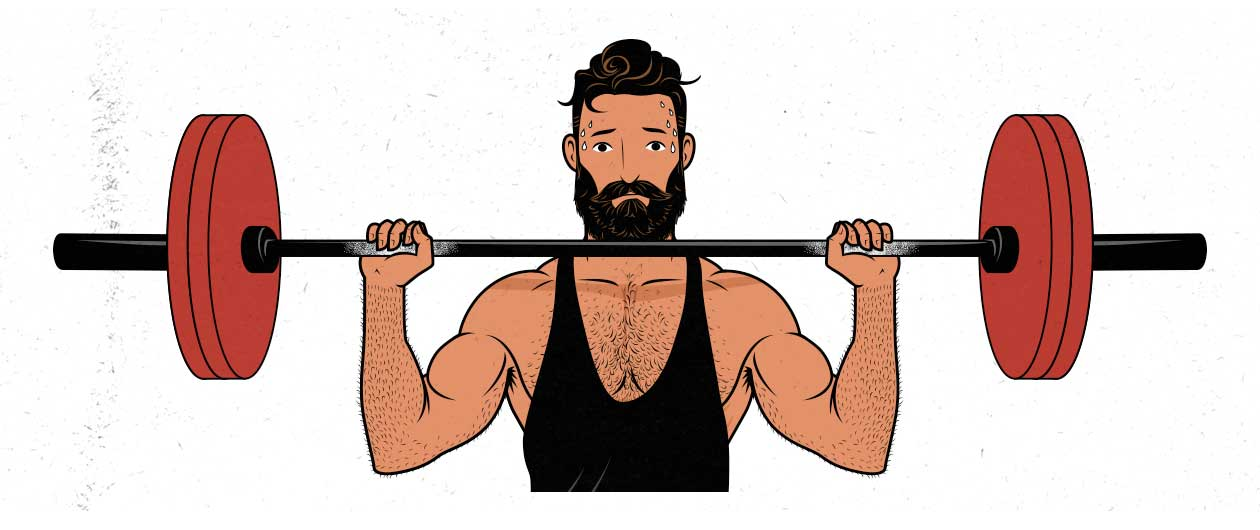 Illustration of a tired man lifting weights.