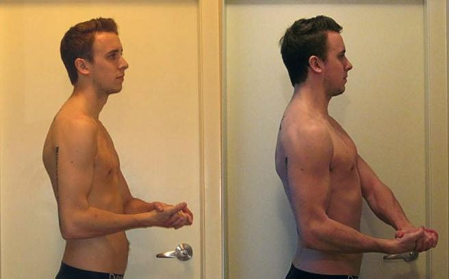 Foto mostrando la transformación en la postura de un hombre