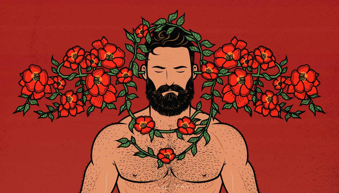 Imagen de un hombre musculoso con una enredadera de plantas alrededor de su cabeza
