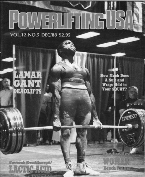 Portada de una revista con una foto de Lamar Gant haciendo un peso muerto