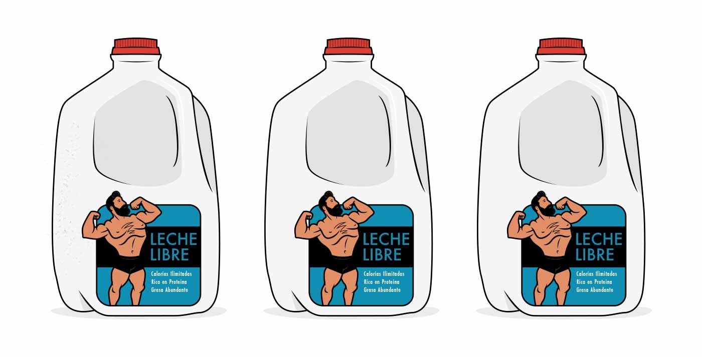 Ilustración de tres contenedores de leche