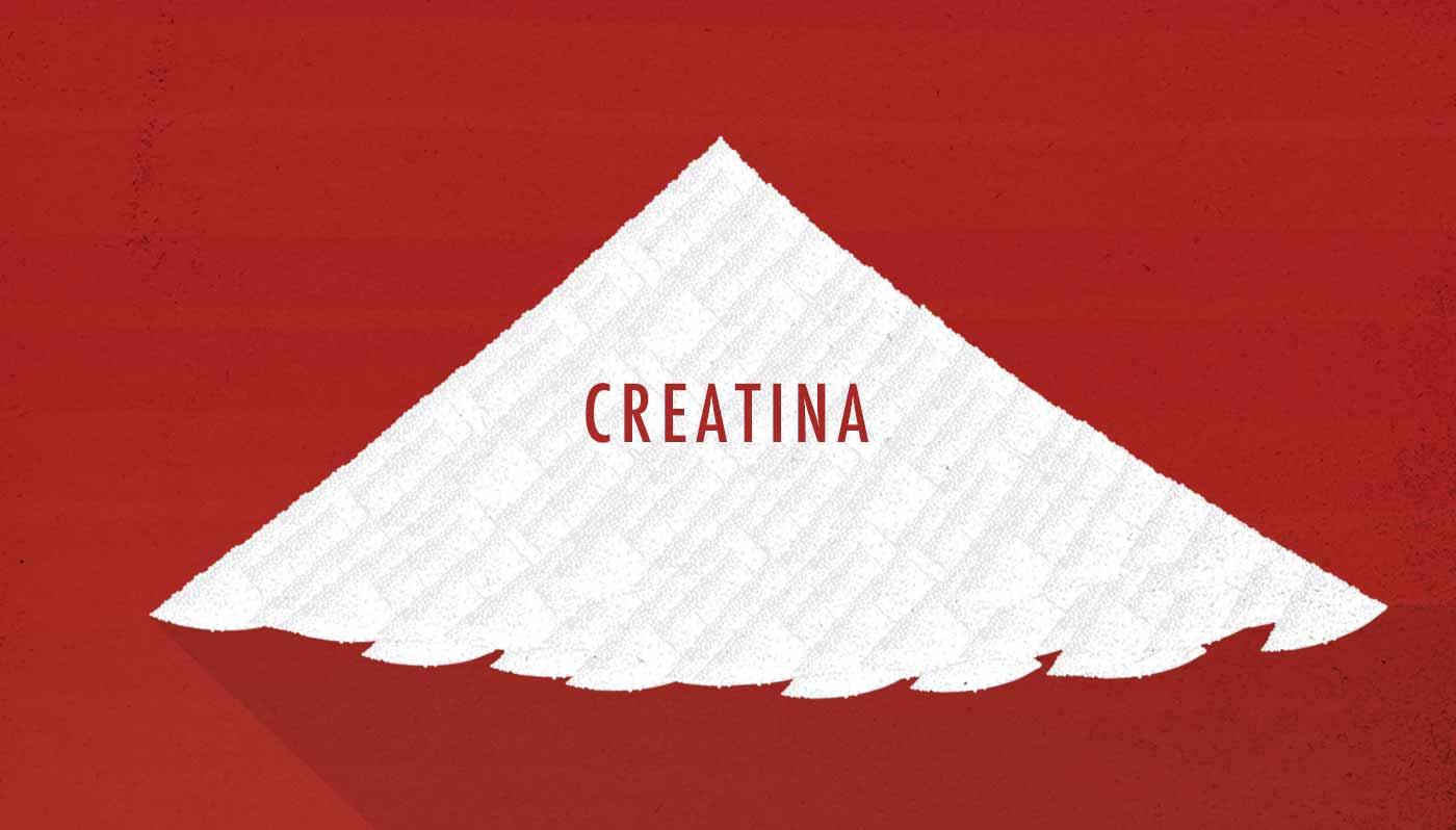 Ilustración de una pequeña montaña de creatina