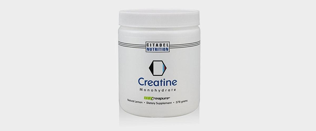 Imagen de un contenedor de creatina, marca Citadel Nutrition