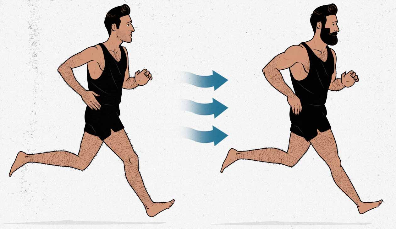 Ilustración mostrando la transforamción de un hombre de delgado a musculoso haciendo cardio