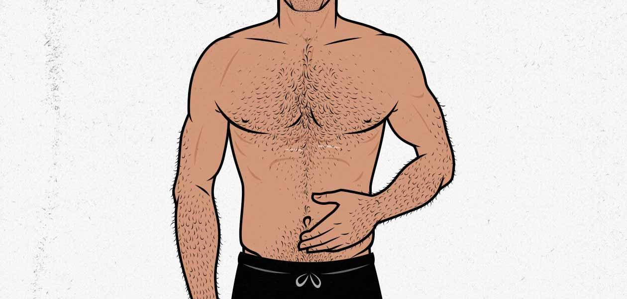 Ilustración de un hombre musculoso y magro