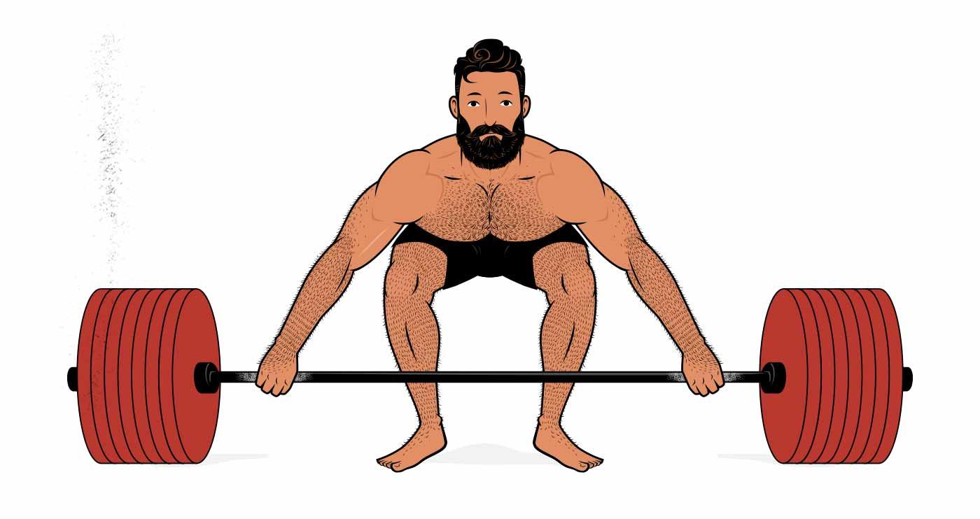 Illustration of a man doing a heavy snatch-grip deadlift.