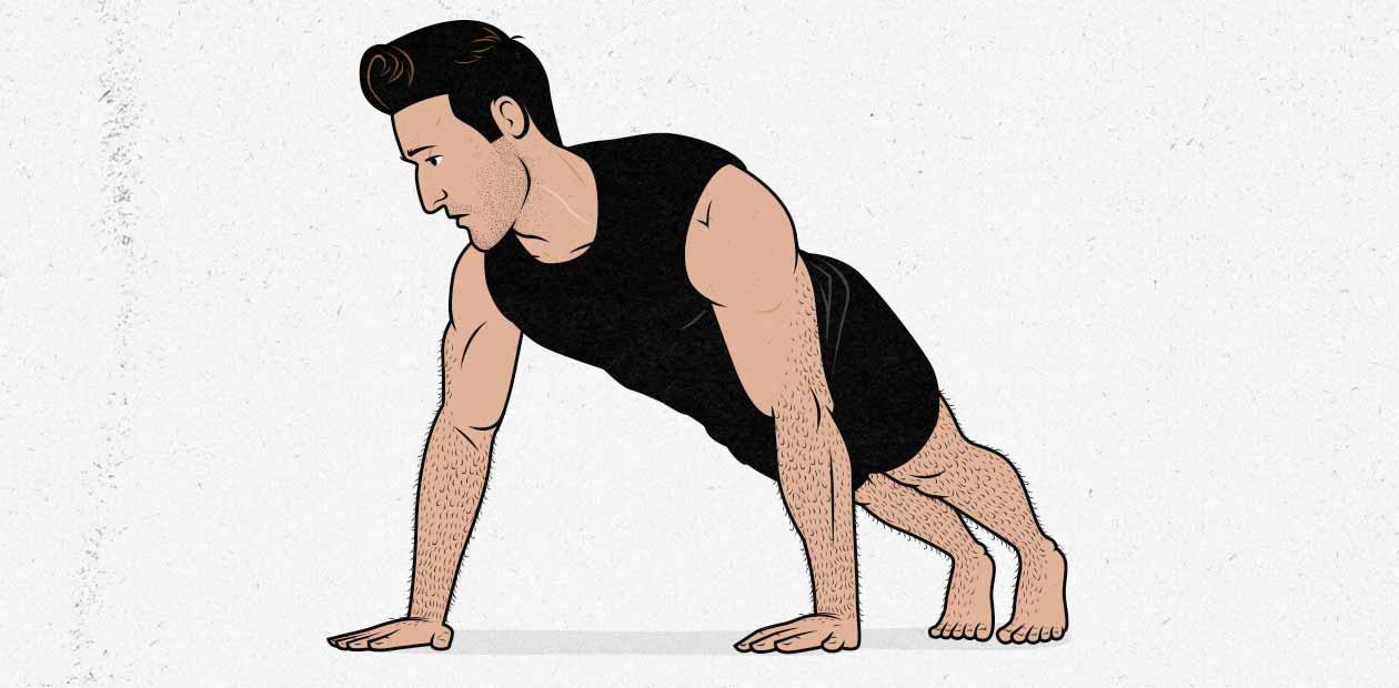 Ilustración de un hombre haciendo una flexión de brazos