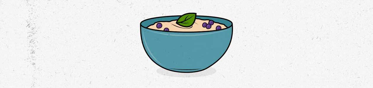 Ilustración de un plato de avena con bayas