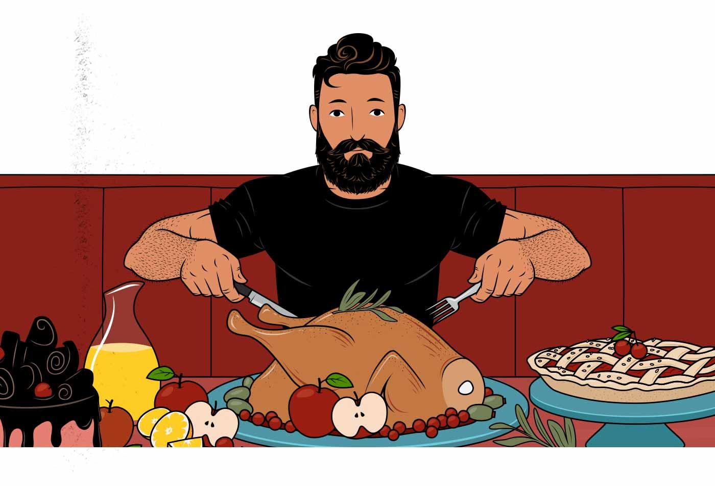 Ilustración de un hombre con un banquete de comida.