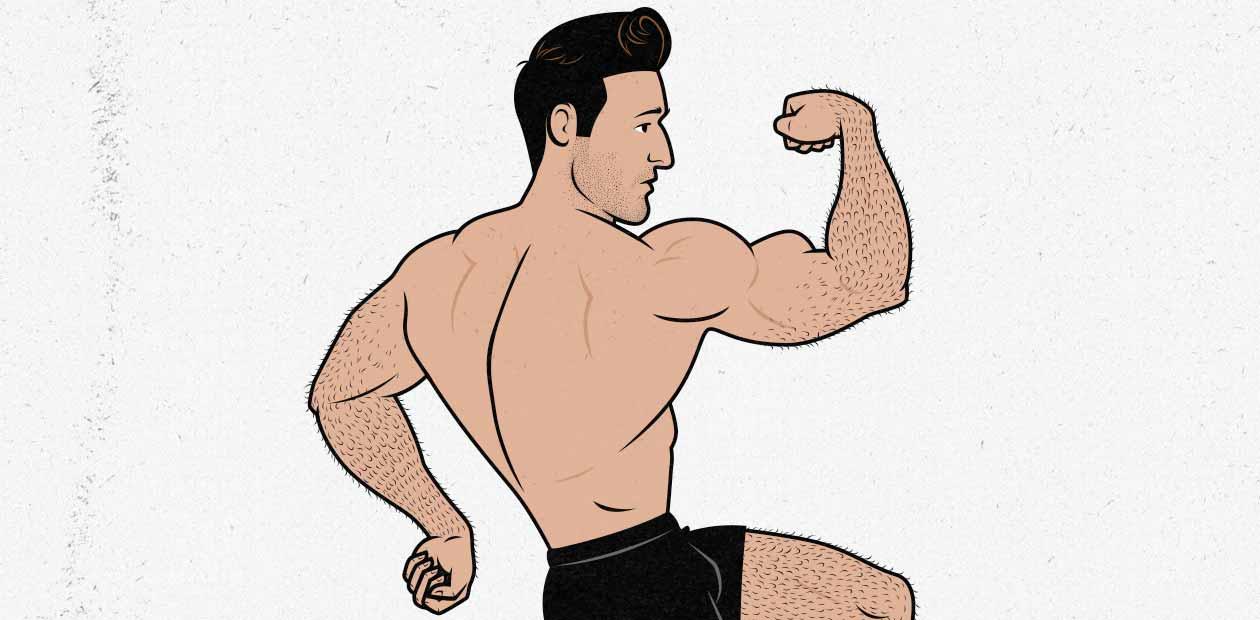 Ilustración de un fisicoculturista flexionando sus músculos
