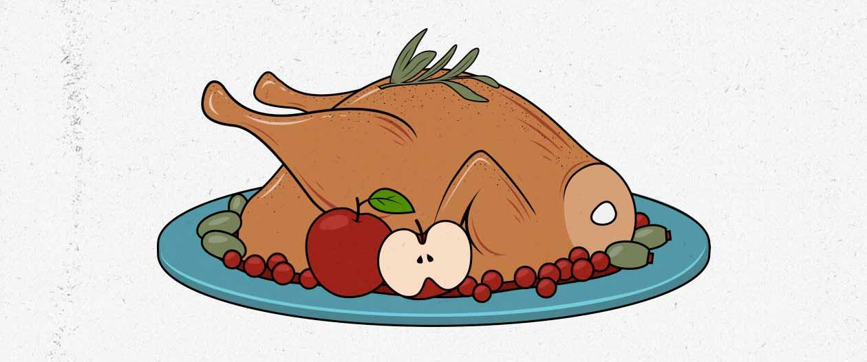 Ilustración de un pavo de acción de gracias.