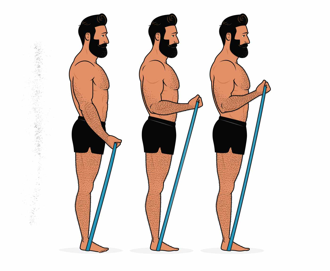 Illustration of a man doing biceps curls with resistance bands.