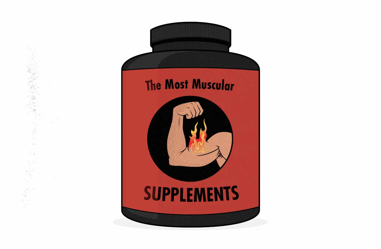 Illustration of a tub of muscle-building supplements.