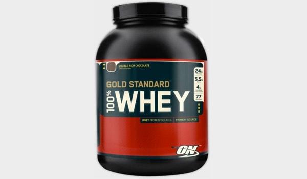 Imagen de un contenedor de proteína de suero, marca Optimum Nutrition