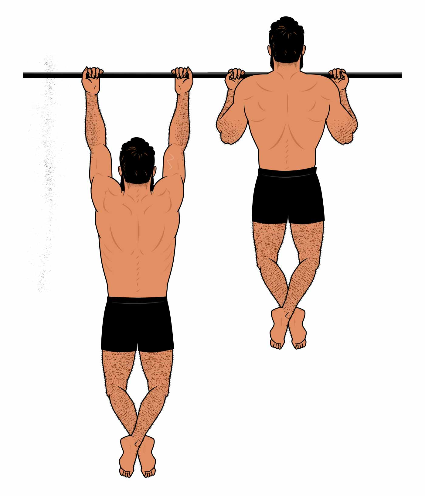 Illustration of a man doing a chin-up.