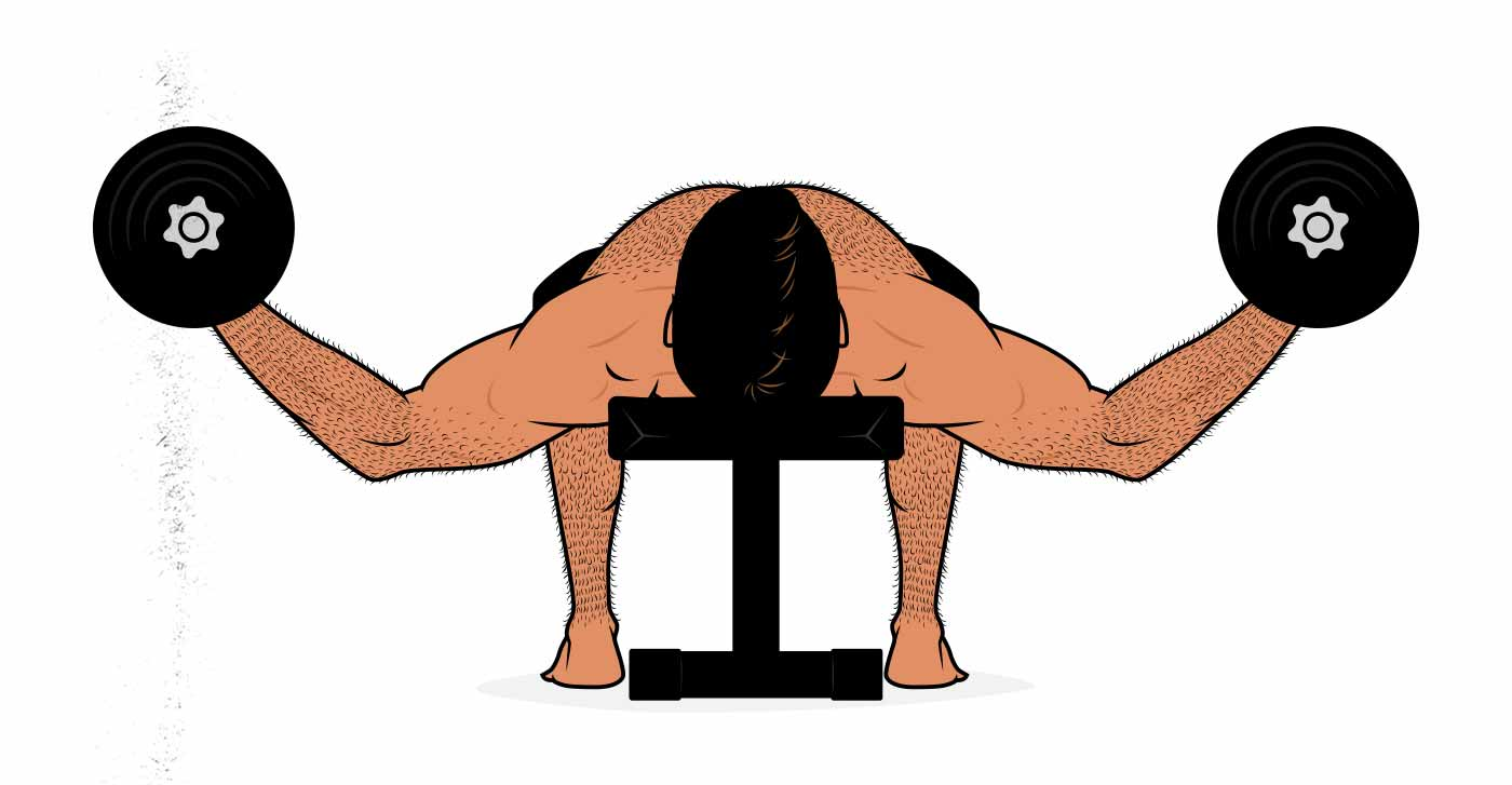 Illustration of a man doing a dumbbell fly for his chest.