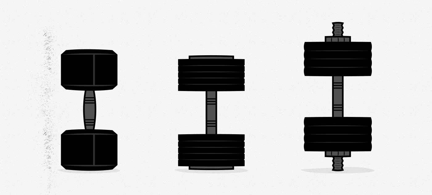 Ilustración de tres tipos de mancuernas diferentes.