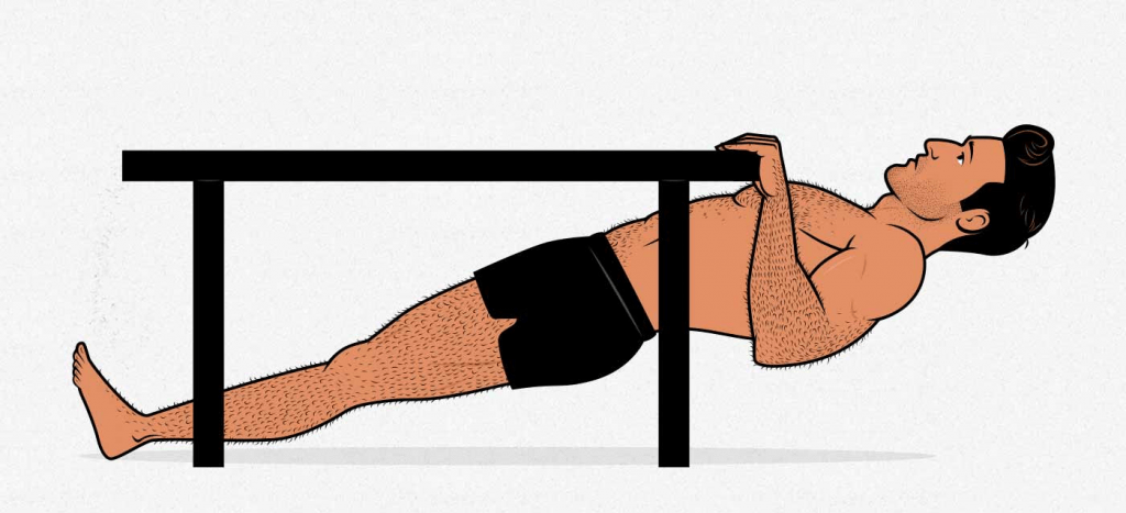 Ilustración de un hombre haciendo un remo invertido en una mesa.