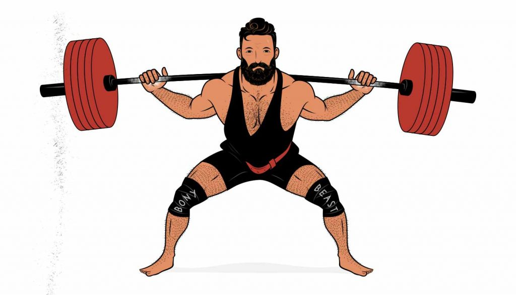 Illustration showing a powerlifter doing a low-bar back squat.