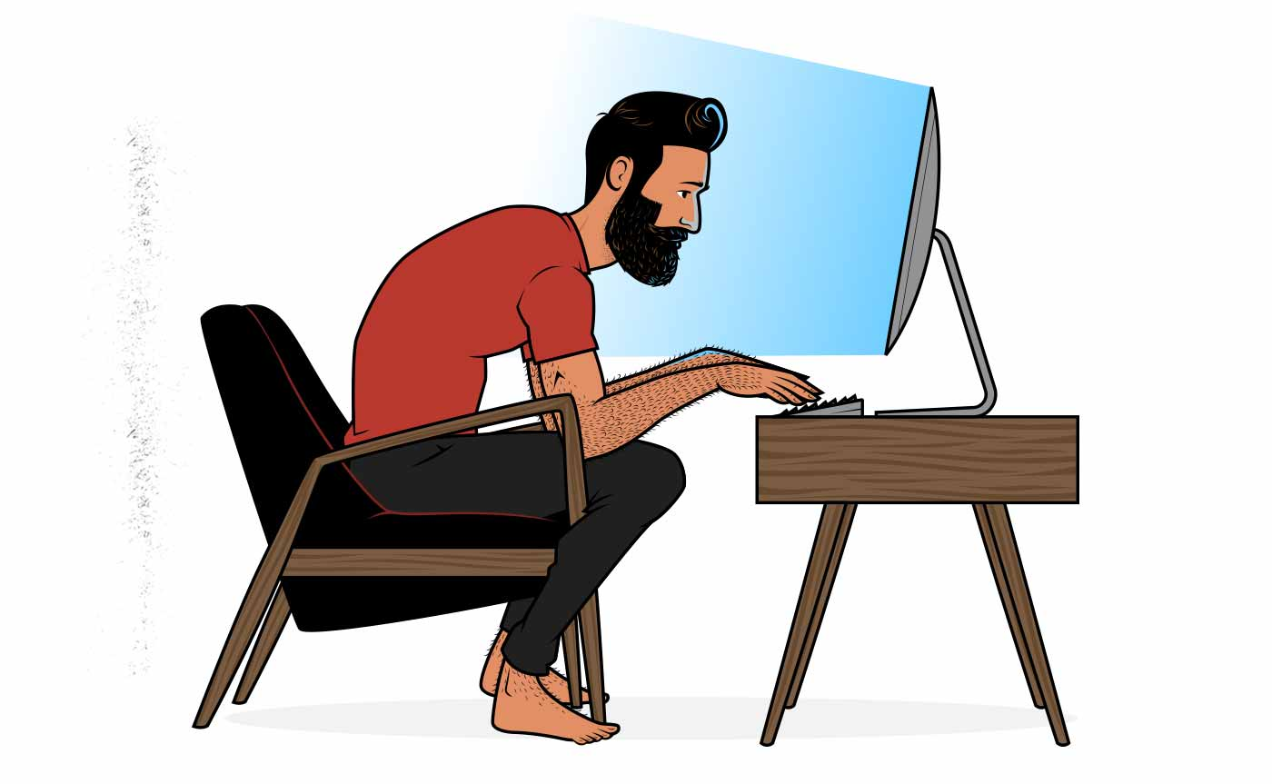 Illustration of a man sitting at a computer.