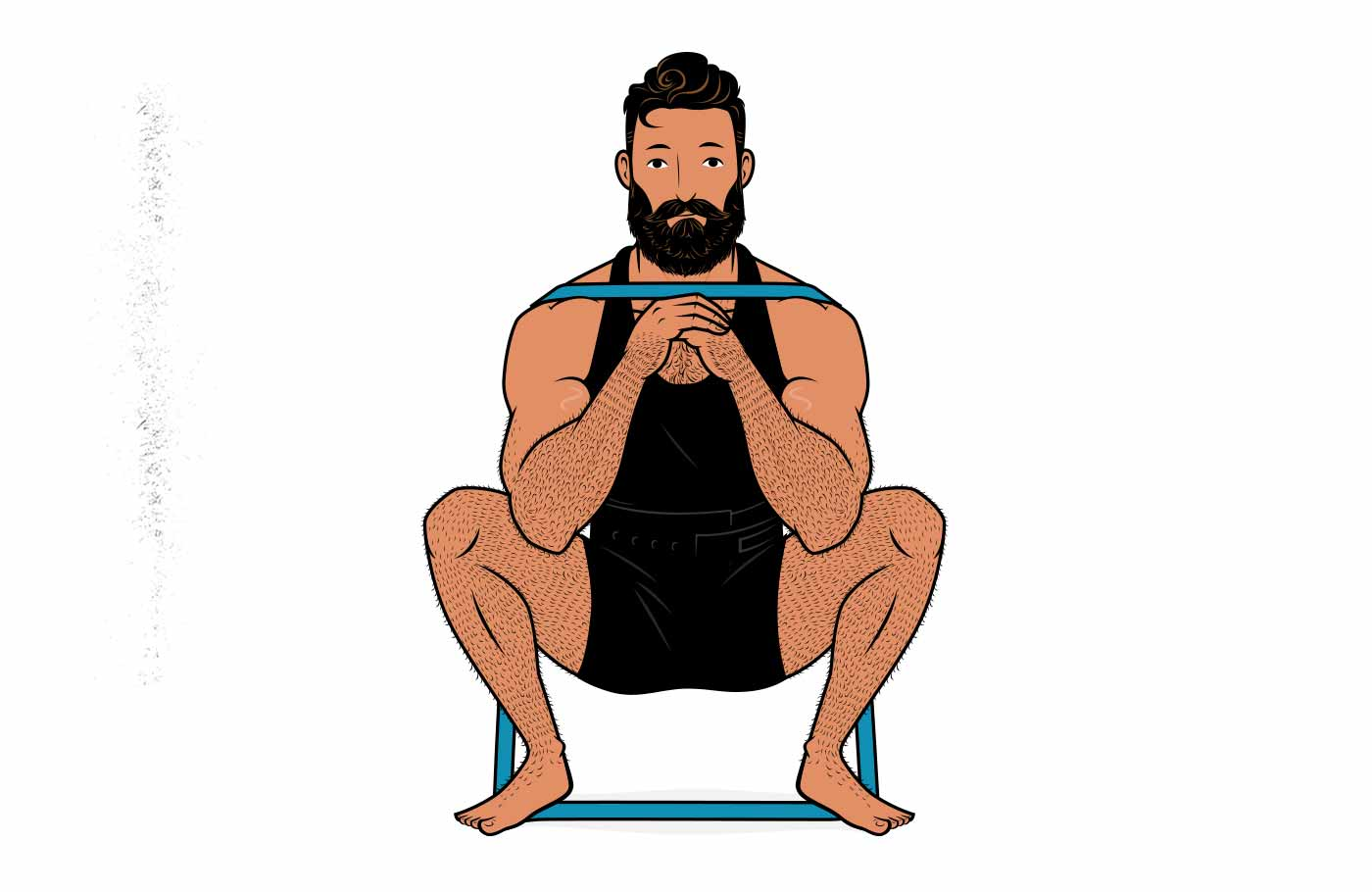 Illustration of a man doing a squat with a resistance band.