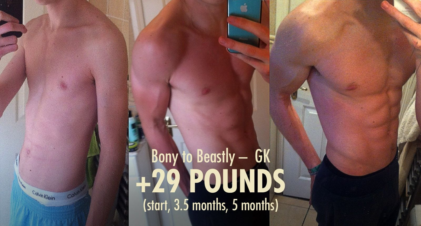Before and after photos showing a skinny guy doing a lean bulking transformation.