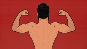 Illustration of a man flexing his back and biceps.