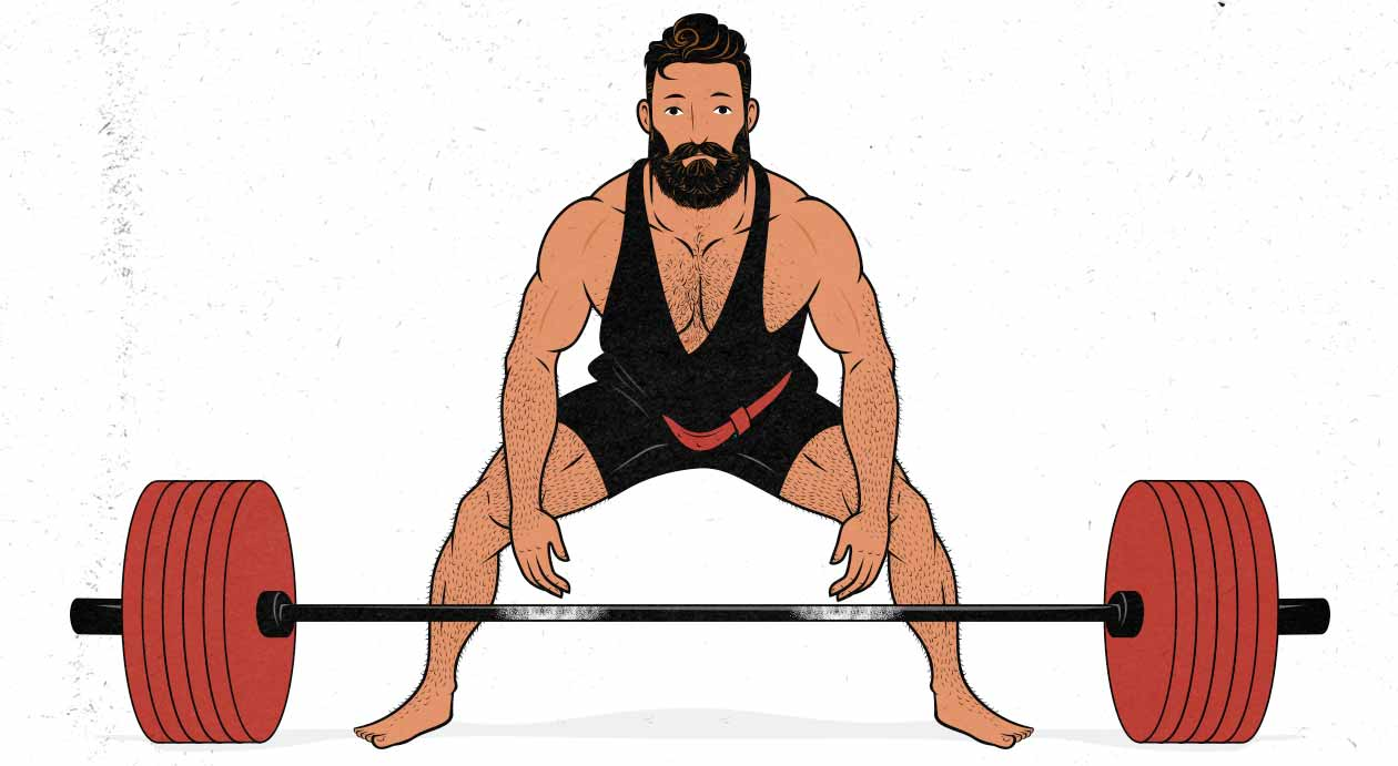 Outlift illustration showing a man doing a conventional barbell deadlift.