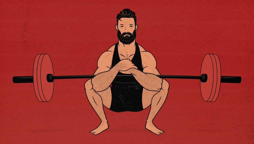 Illustration of a man doing a Zercher squat.