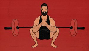 Illustration of a man doing a Zercher squat.