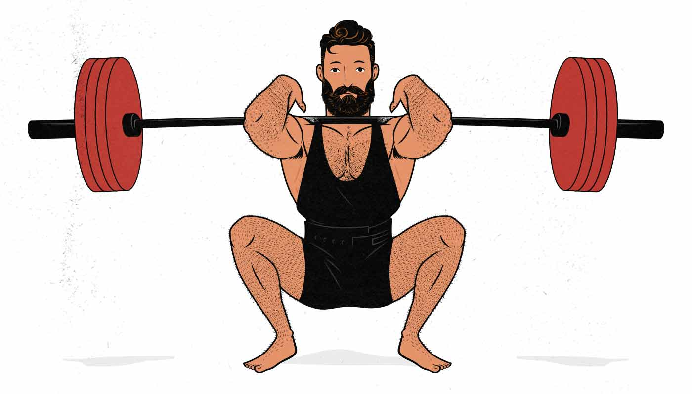 Illustration of man squatting for a leg day workout.