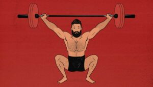 Illustration showing a man Olympic weightlifting (doing a snatch).
