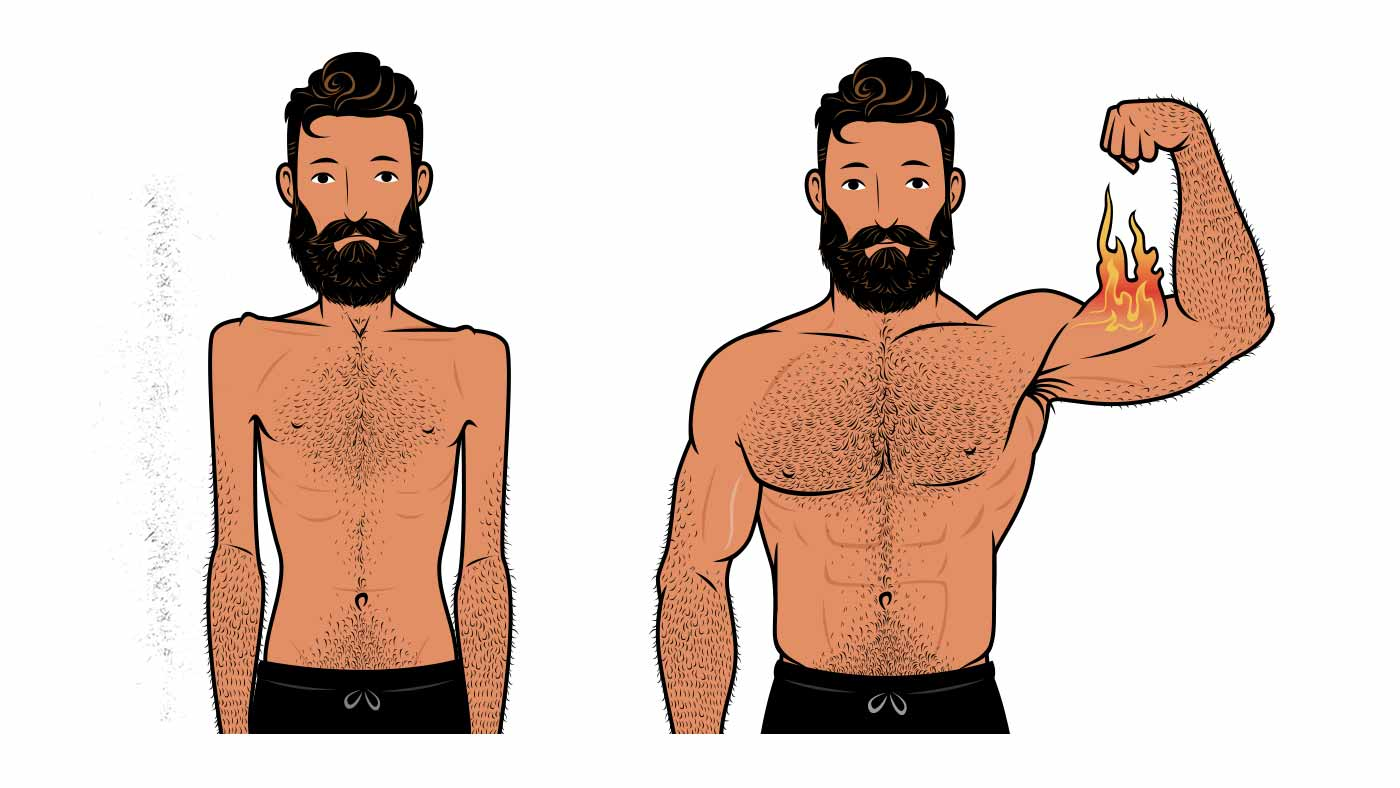 Illustration showing a skinny man becoming muscular by lifting in the moderate repetition range.
