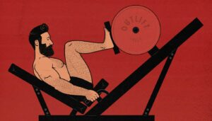 Illustration of a bodybuilding using the leg press exercise machine to build muscle.