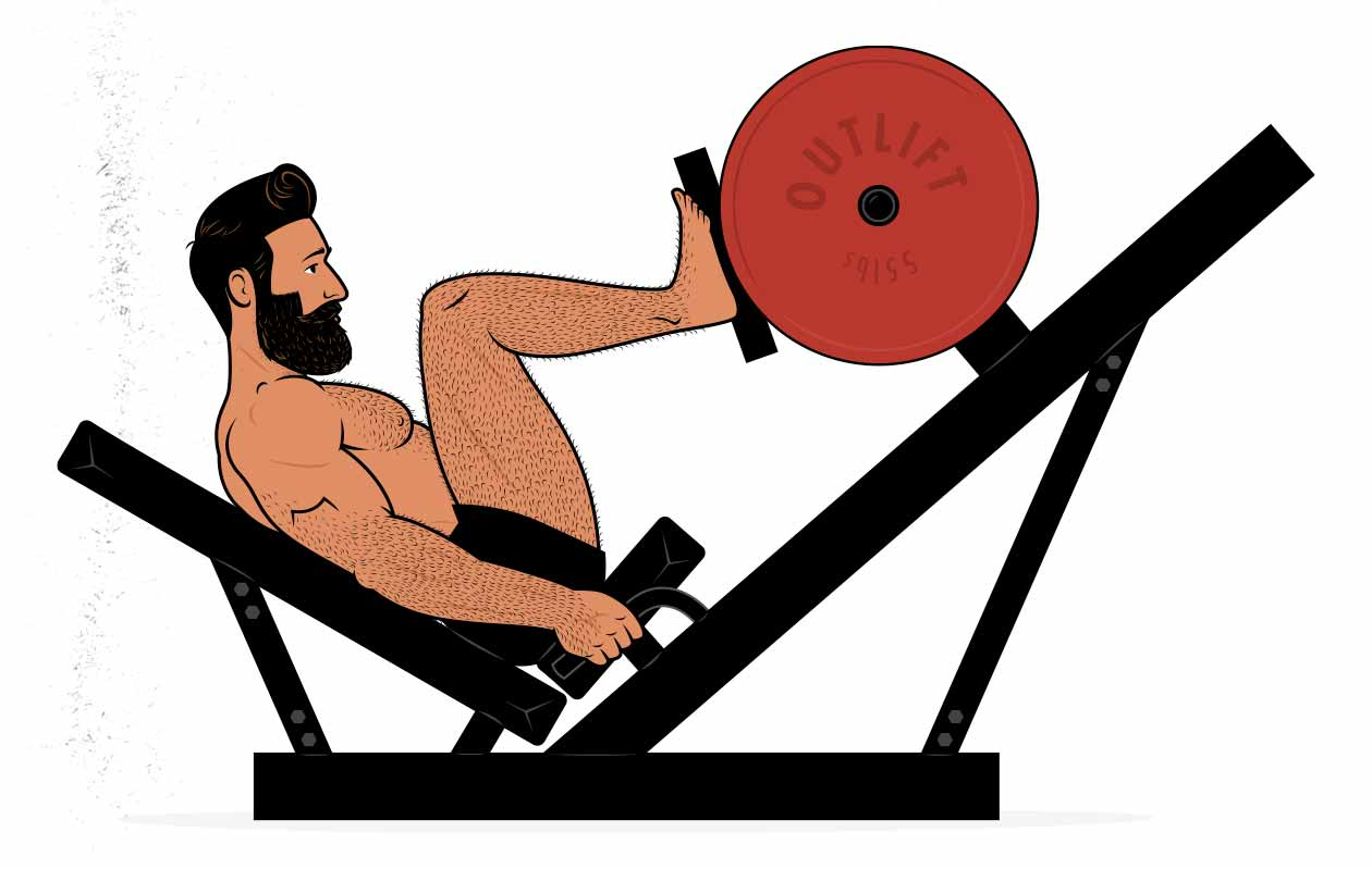 Illustration of a bodybuilder doing the leg press.