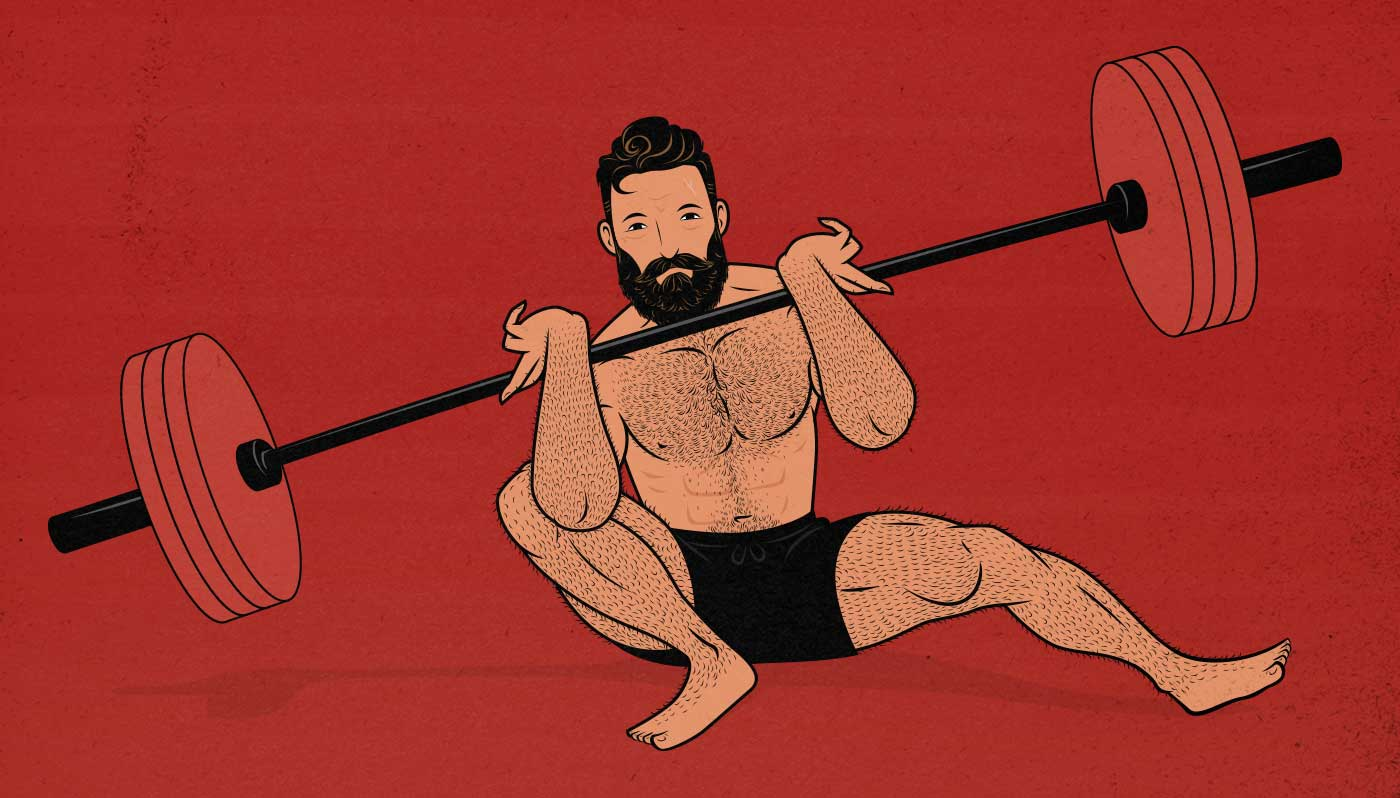 Illustration of a man lifting to failure on the front squat.